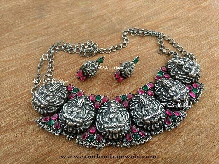 Antique Silver Temple Lakshmi Choker, Silver Lakshmi Necklace Designs.