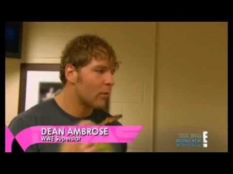"Dean Ambrose on Total Divas ""u were checking him out nattie."" along side with cena."