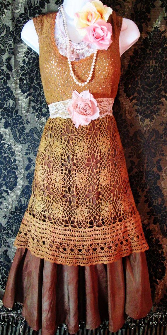 Tan lace dress tea stained beige silk crochet by vintageopulence