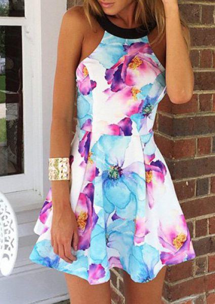 Sexy Round Collar Sleeveless Floral Print Women's Dress #Floral #Print #Dress #Stylish #Fashion #Blue