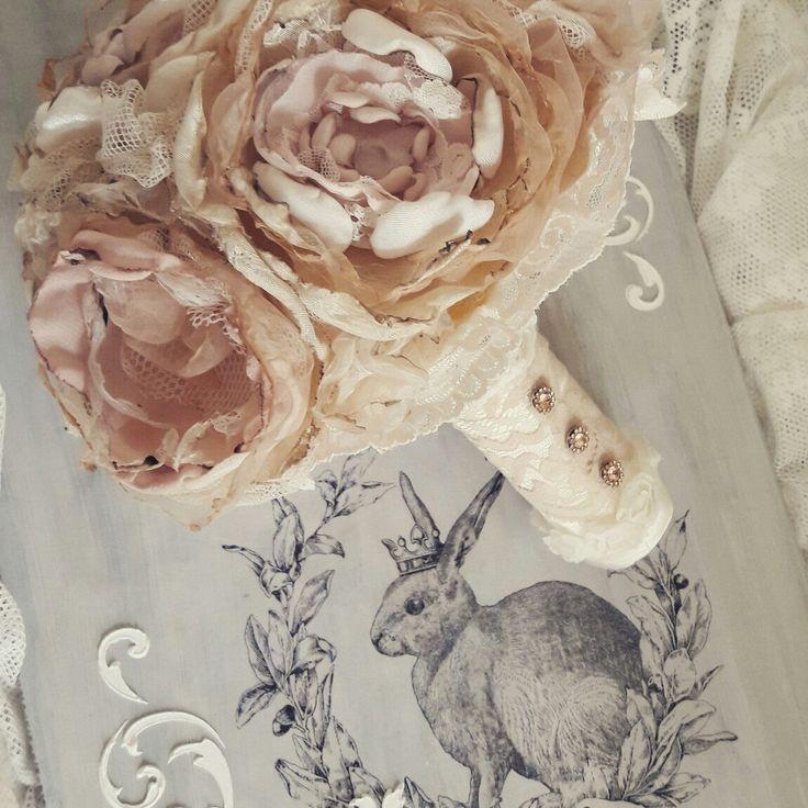♡♡♡ Shabby chic bruidsboeket van stof gemaakt ♡♡♡