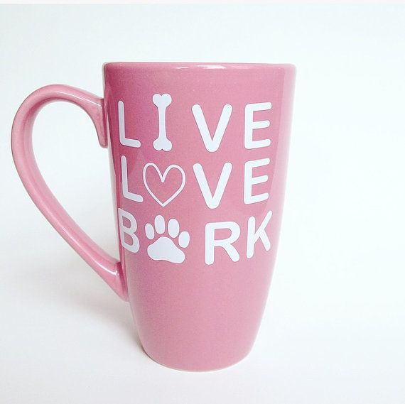 Dog Lover Gift Live Love Bark Coffee Mug by KayInspirationGifts - Tap the pin for the most adorable pawtastic fur baby apparel! You'll love the dog clothes and cat clothes! <3
