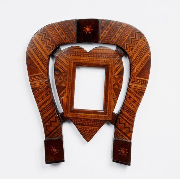 Marquetry Horseshoe Shaped Frame with Heart Shaped Center