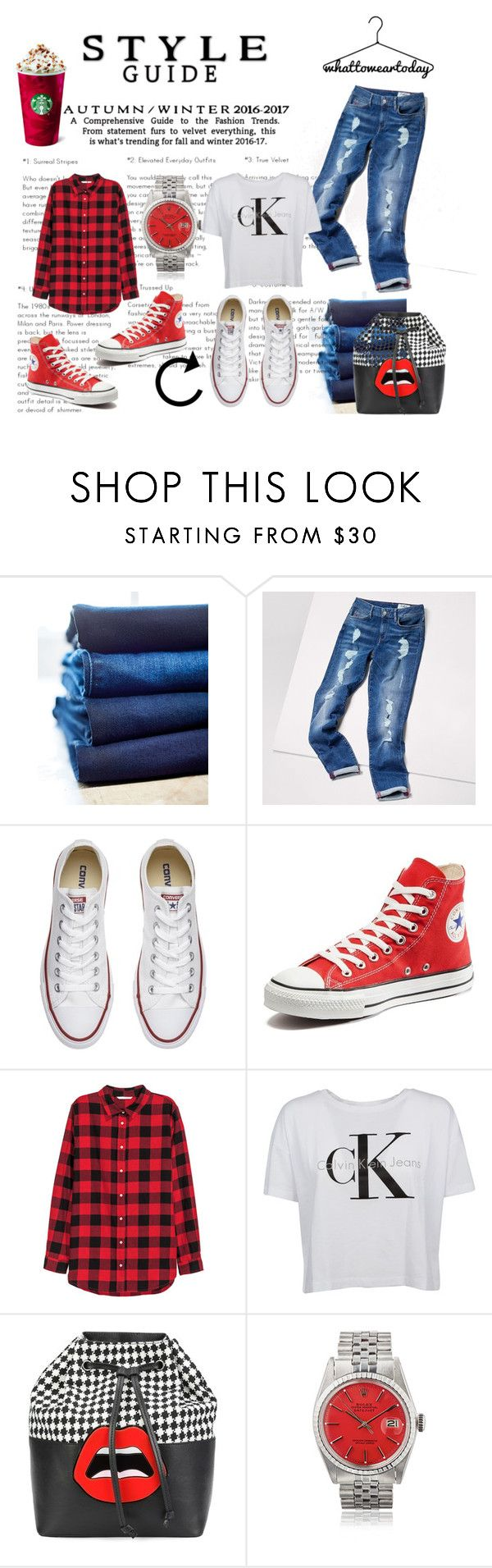 """Denim RedWhite Combo"" by iris234 on Polyvore featuring 7 For All Mankind, Tommy Hilfiger, Converse, Calvin Klein and Yazbukey"