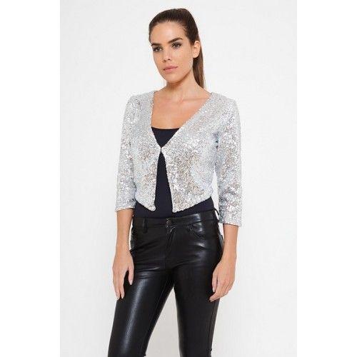 chaqueta lentejuelas plata   suen-Vestidos de fiesta baratos Vestidos online
