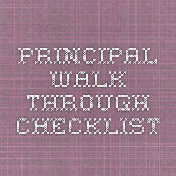 Principal Walk Through Checklist