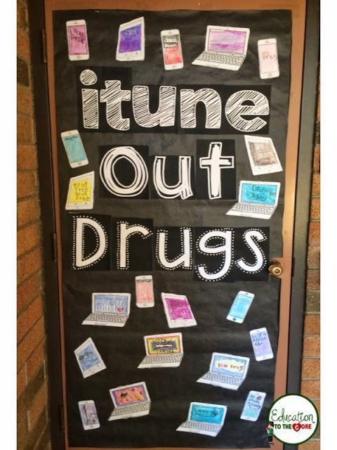 Education to the Core: FREE! itune Out Drugs Door Decoration for Red Ribbon Week.