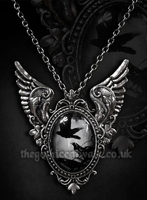 Black Raven Cameo Winged Necklace Brooch