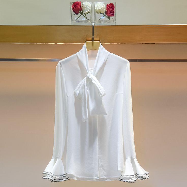 Fashion 2017 Spring Women Slim Bow Ruffles Sleeve Chiffon Long Sleeve Female Korea New Arrival