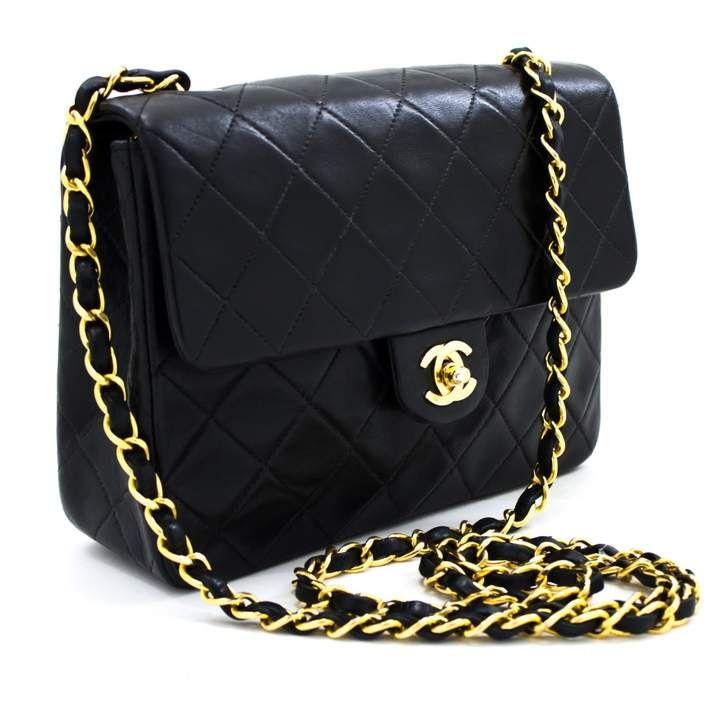 Chanel Vintage Black Leather Handbag Chanel Mini Square Chanel Handbags Black Leather Handbags
