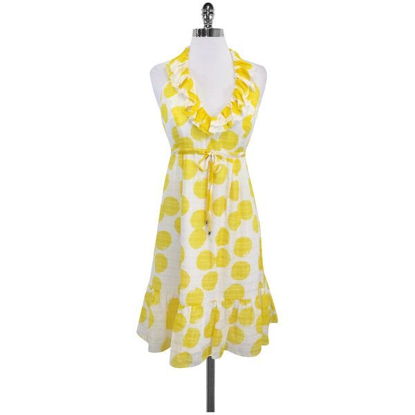 Pre-owned Lilly Pulitzer Yellow & White Spotted Silk Halter Dress ($49) ❤ liked on Polyvore featuring dresses, tie waist dress, white dress, yellow polka dot dress, yellow cocktail dress and white halter cocktail dress