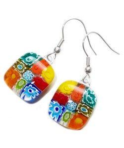 Handgemaakte glazen oorbellen met multicolor millefiori bloemen van glas!