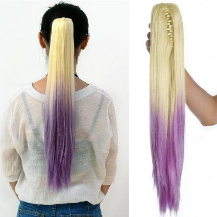 Neverland #Straight Ponytail Long Hair Piece #Hair #Extension With Clips Two Tone Blonde #Light #Purple