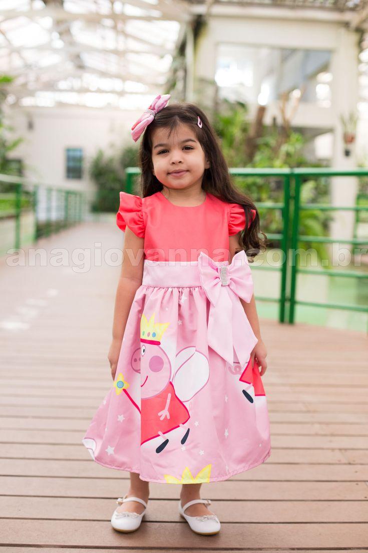 Peppa Pig Dress (Vestido Peppa Pig para festa) - http://anagiovanna.com.br/produtos/1/vestidos-infantil/52/peppa-pig