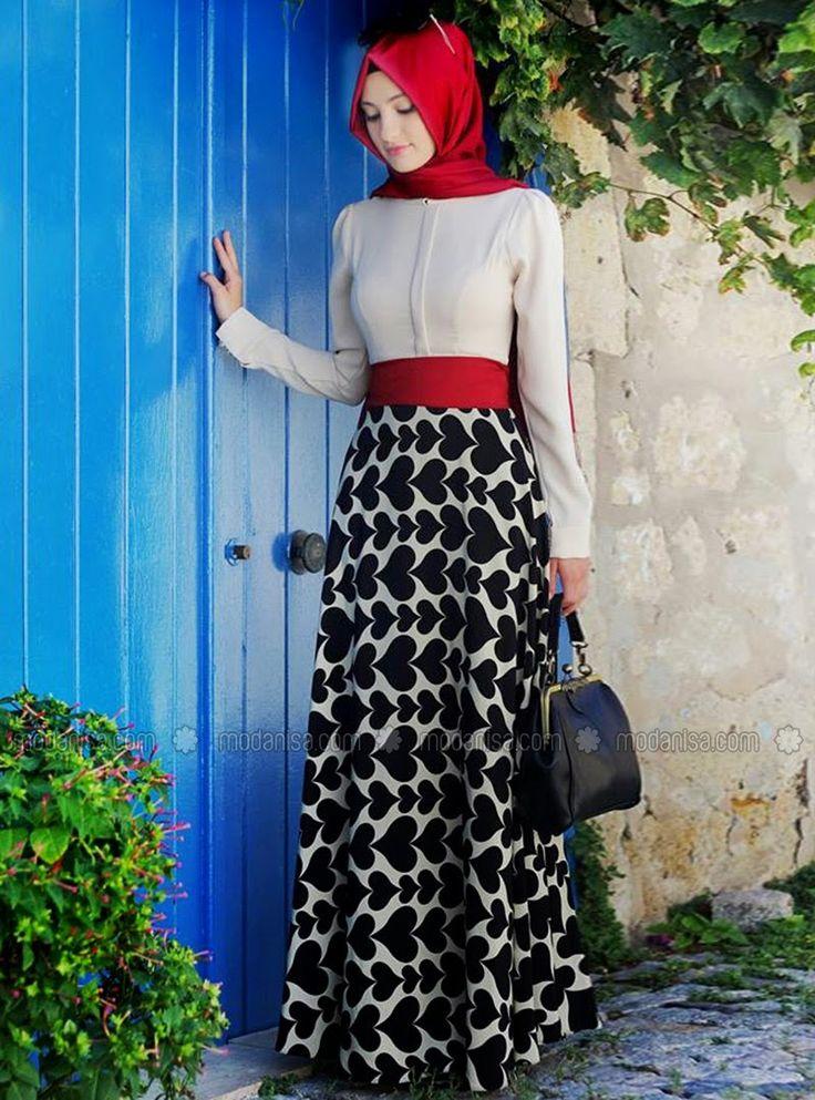 #black #red #white #hijab #elegance