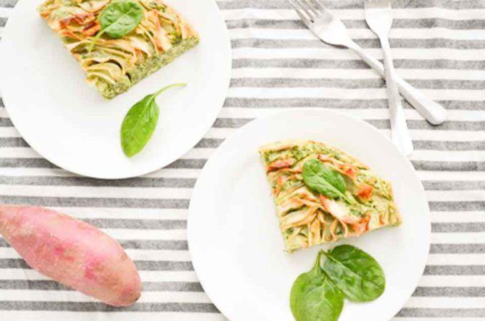 Spinazie Ricotta Taart met Zoete aardappel