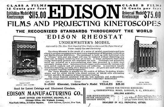 Se anuncia el kinetoscopio de Edison