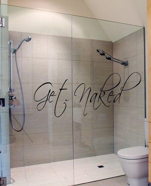 Get Naked: Masterbath, Rooms Art, Wall Decals, Showers Doors, Wall Stickers, Glasses Doors, Master Bathroom, Art Wall, Bathroom Decoration