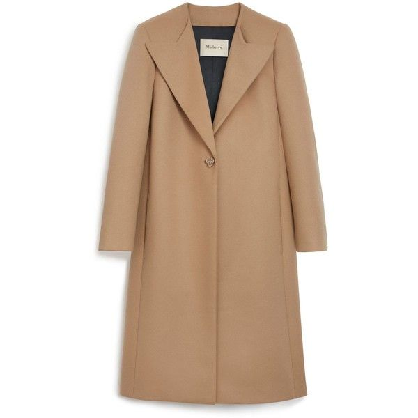 Mulberry Bobbie Coat found on Polyvore featuring outerwear, coats, sweaters, light salmon, beige coat and vintage style coats