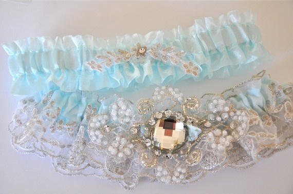 Garter Set in White Regal Lace with Tiffany Blue by GarterLadyRegal Lace, White Regal