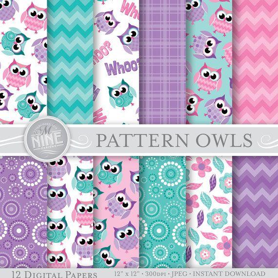 Owls Digital Paper: PURPLE PATTERN OWLS Pattern by MNINEDESIGNS