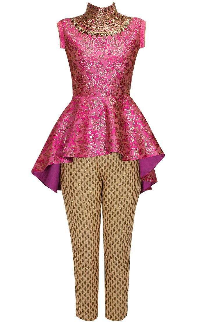 Pink floral sequins embroidred peplum top