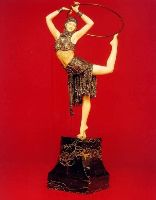 H Ivory Chiparus Marble Base Bronze D