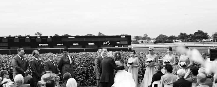 Father giving his daughter away at Newcastle Jockey Club