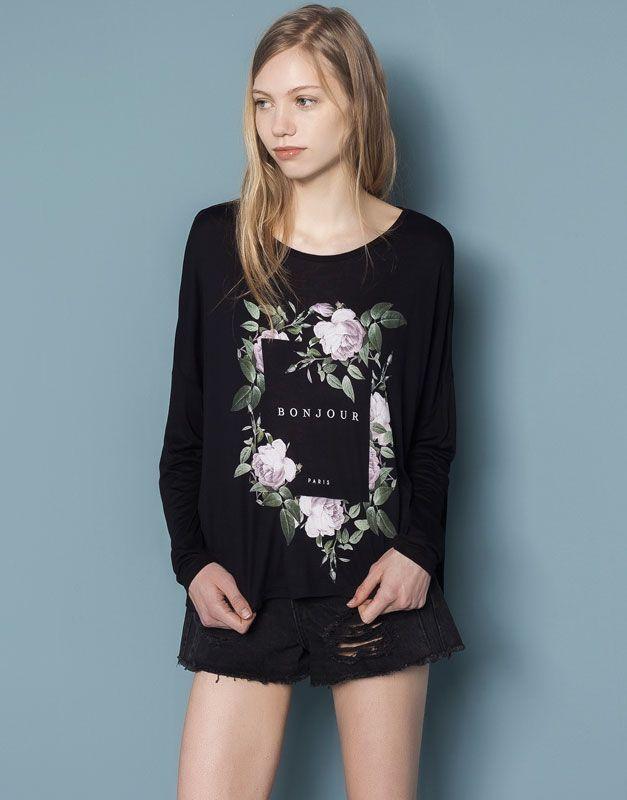 Pull&Bear - donna - camicie e top - maglietta print - nero - 05240369-V2015