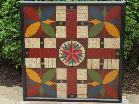 Primitive Parcheesi Game Board Folk Art Antique Reproduction Wood Game Board