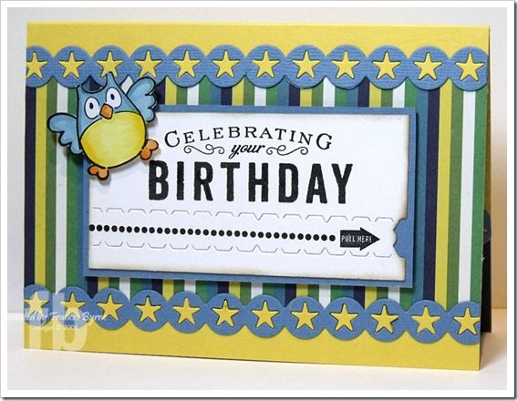 Celebrating Your Birthday! created by Frances Byrne using  Eline's Owls – Marianne Designs; Movers & Shakers Sentiments; Faux Ribbon – Papertrey Ink.