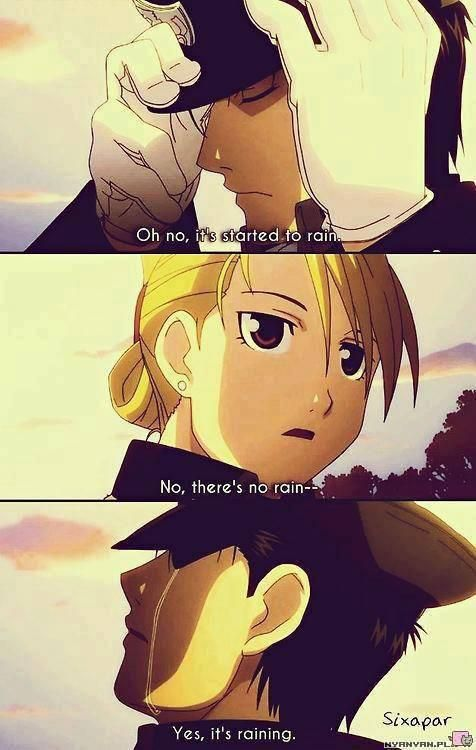 "Full Metal Alchemist: Brotherhood.*tears* // I love how she just accepts it though, like, ""Oh. Yes. Of course."" <3"