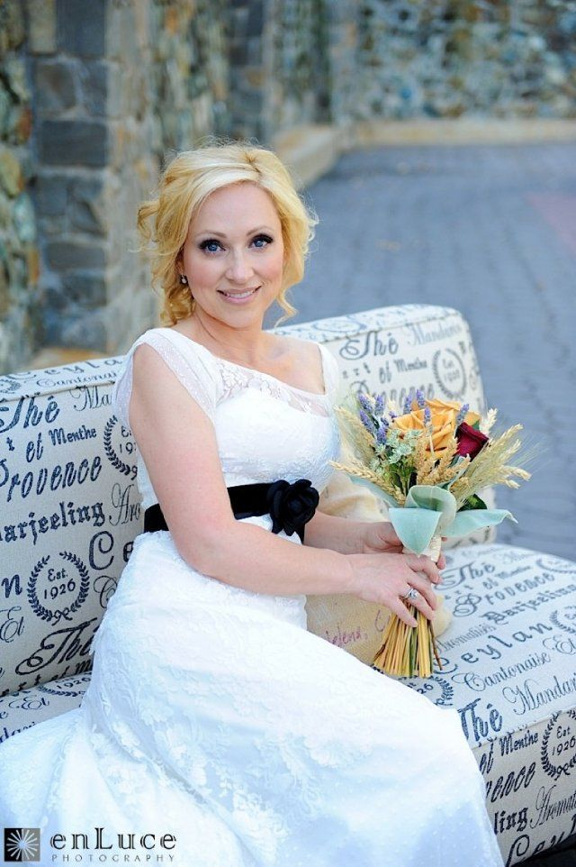 Leigh-Allyn Baker (stunning dress and bouquet, by the way)