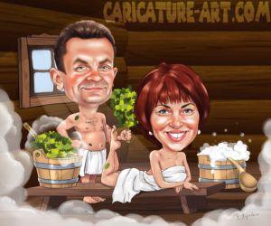 Шарж в бане, рисунок пары в бане, женщина в бане (с ...