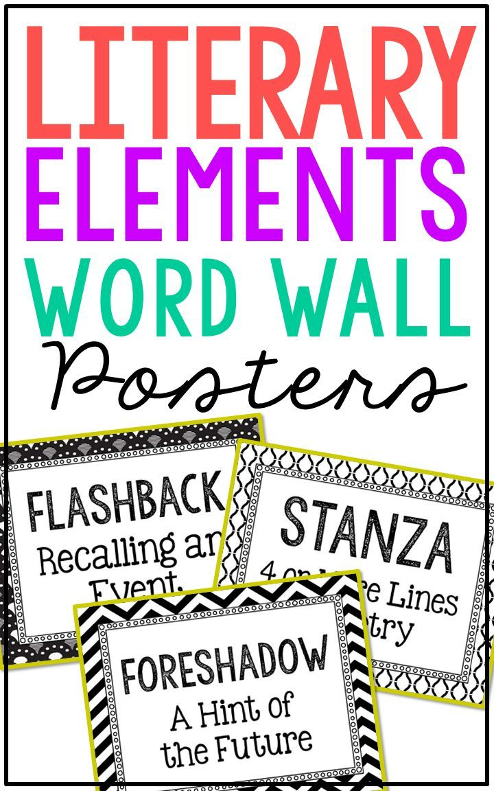 100 Literary Elements Vocabulary Word Wall Terms Or Flash Cards