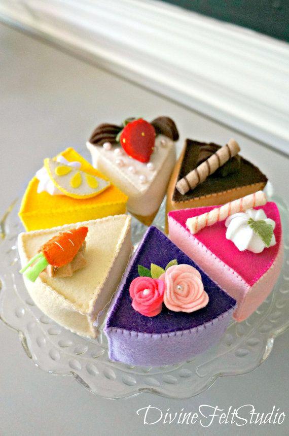 Felt Cake Tea Party Collection 6 PC Set-Felt by DivineFeltStudio