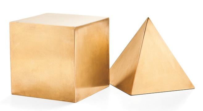 Kelly Wearstler geometric brass sculptures