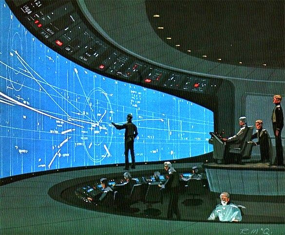 Control room of the future shipsbridge spaceship for Futuristic control room