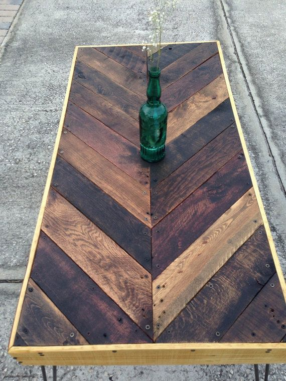 Sooo cutee!!!! Chevron Reclaimed Pallet Wood Coffee Table by WoodchucksLP on Etsy, $299.00