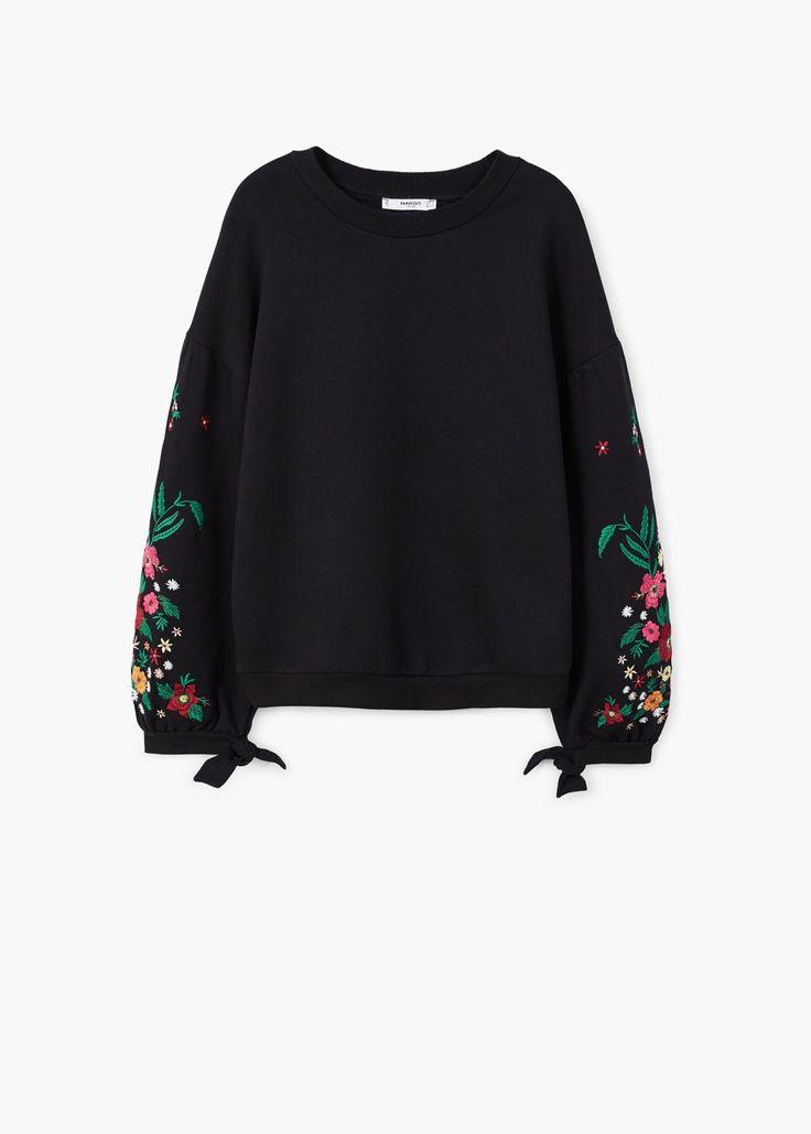 Sweatshirt mit floraler stickerei -  Damen | MANGO Deutschland