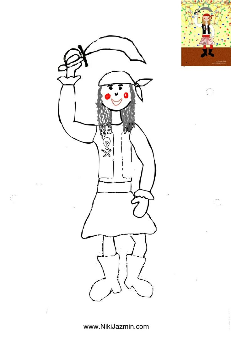 A pirate girl - colouring page