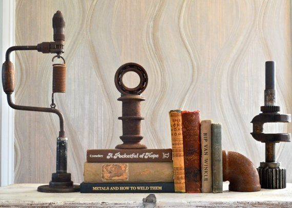 Must have these! The Rusted Collection by Dennis John Industrial. Unique Old Reclaimed Home Decorations, Table Art, Decor, Bookends.…