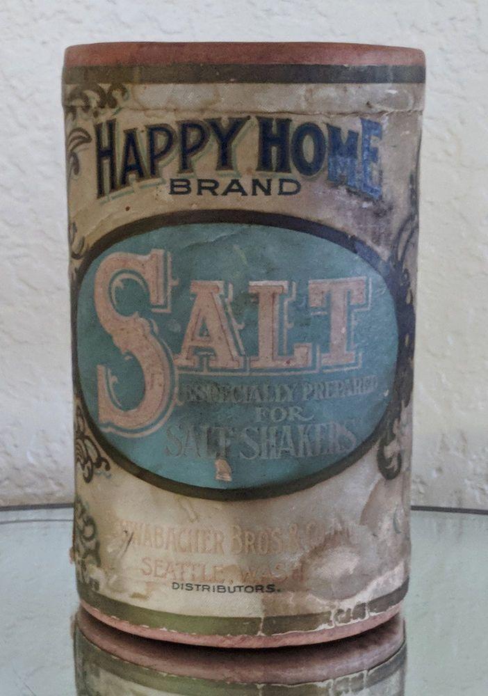 Antique Happy Home Brand Salt For Shakers Schwabacher Seattle Washington  #HappyHomeBrand