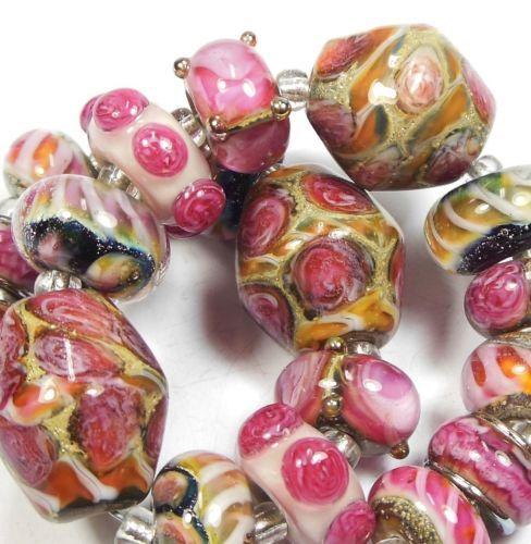 Quinlan Glass Renaissance Romance Handmade Lampwork Glass Beads
