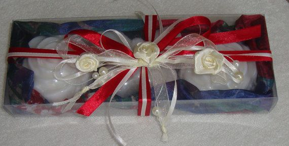 Handmade Gift Set containing 3 small white Luxury Scented Soaps in a special scent of milk and very nice decorated by ribbons with white roses.  A Unique gift for Mother's Day, a very elegant, stylish gift for any occasion: Valentine's Day, Anniversary, Feast, Engagement, Birthday, any Celebration, any Ceremony, Party… you name it!