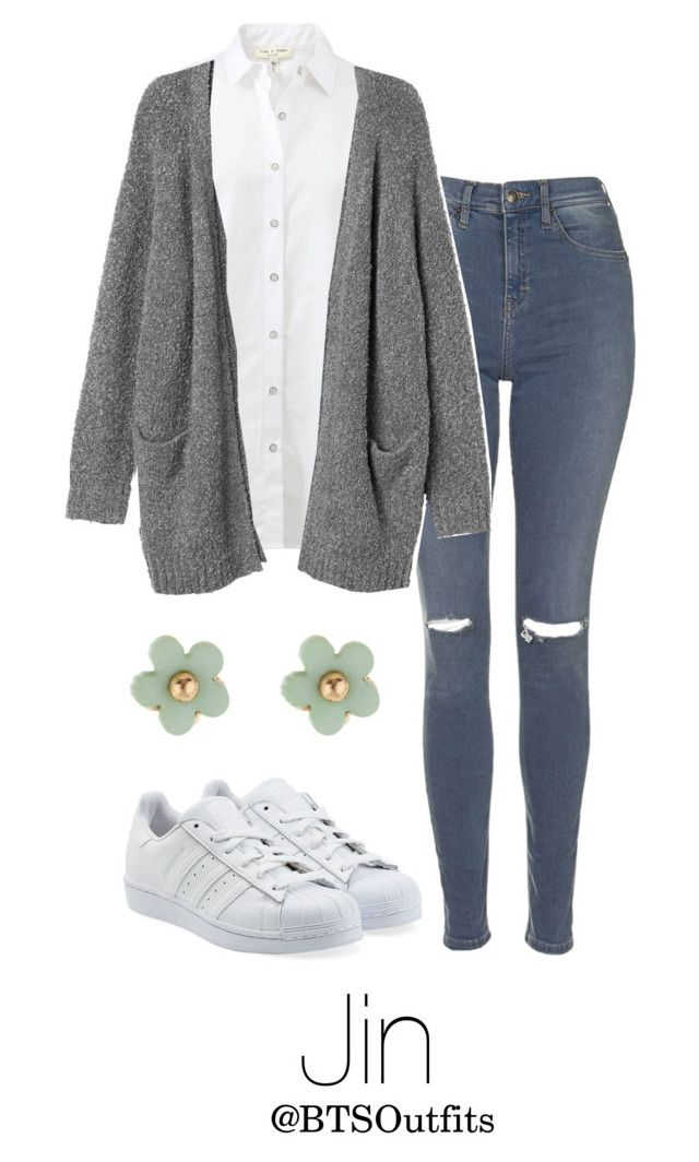 """""""Imitating Him at a Fansign: Jin"""" by btsoutfits ❤ liked on Polyvore featuring adidas Originals, rag & bone, Topshop, Monki and Monsoon"""