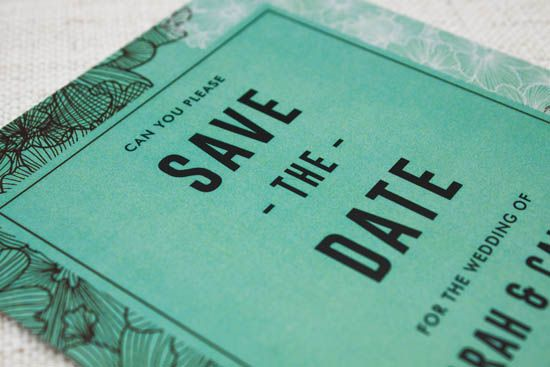 Mint Green and Brown Save the Date