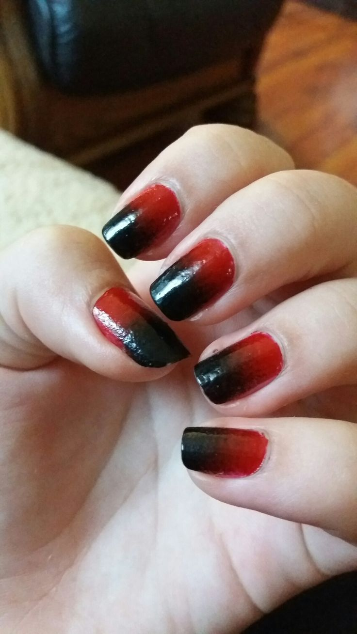 Ombre nails, black & red