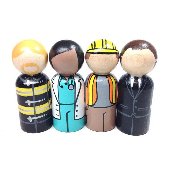 """The classic collection - people in your neighborhood individual peg doll  select from:  •firefighter •doctor •construction worker •business executive •farmer •teacher •athlete  •bus driver    •painter •police officer    •pilot...wooden peg dolls are approx. 2 3/8"""" tall and 7/8"""" wide"""