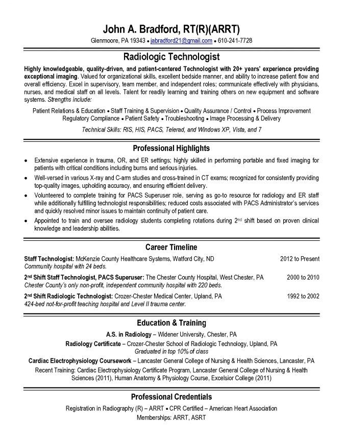 X Ray Technologist Resume Examples In 2020 Professional Resume